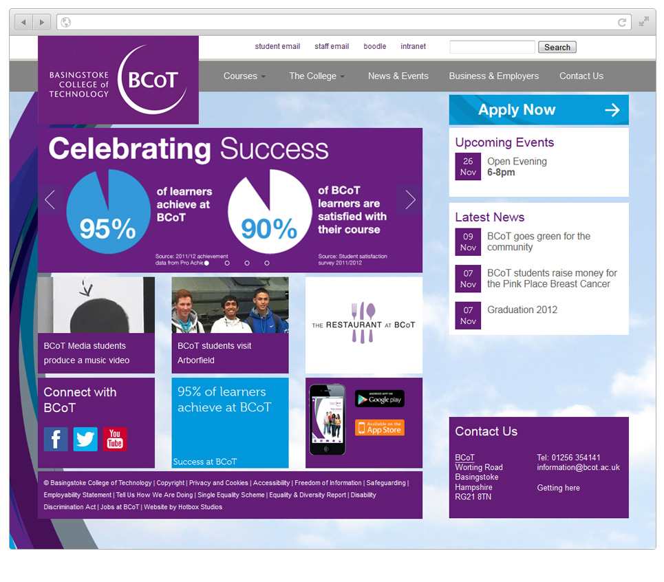 Web Design Hampshire - Basingstoke College of Technology website v2015002