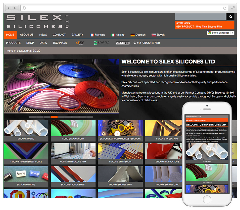 Web Design Hampshire - Silex Silicones website v2015001