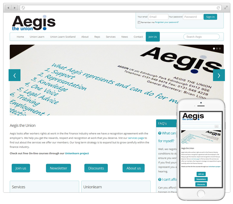 Web Design Hampshire - Aegis the Union website v2015003